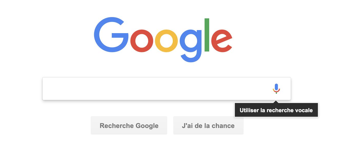 Image de google et affichage du logo recherche vocale