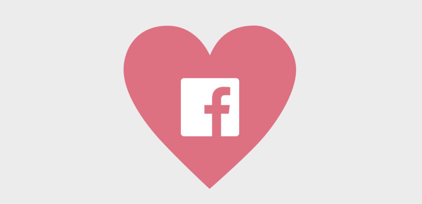 logo de facebook dans un coeur