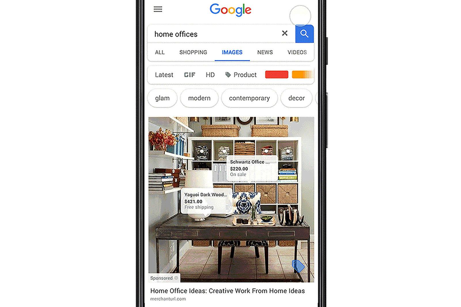 Exemple d'intégration du nouveau format publicitaire dans Google Images